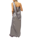 Strapless drape gown