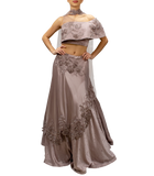 Lavender Off-the-shoulder Lehenga