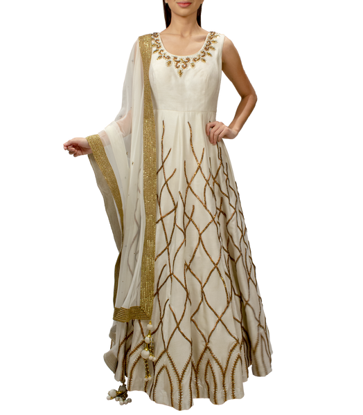 Off-white Anarkali Gown