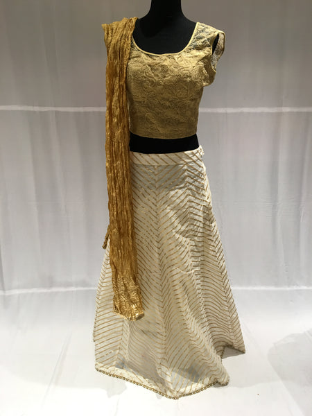 White and gold Chaniya choli