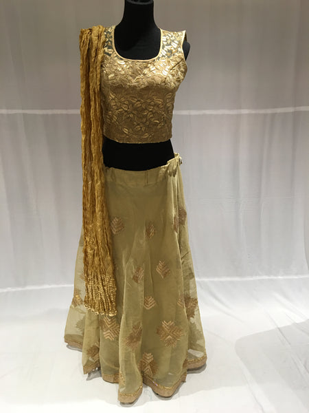 Khaki green and gold Chaniya choli