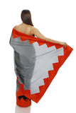 GREY SILK AND BLACK NET SAREE WITH ORANGE CHEVRON BORDER