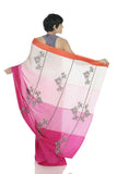 PINK PANELLED SAREE WITH HAND EMBROIDERY