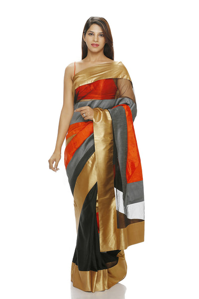 SAREE WITH GOLD, ORANGE AND GREY PANELS