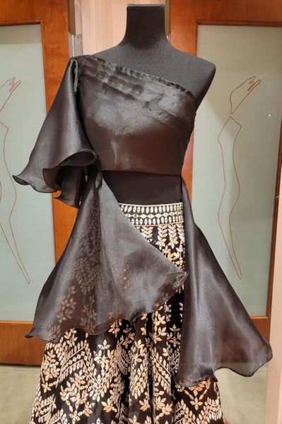 BLACK CROP TOP AND LEHENGA