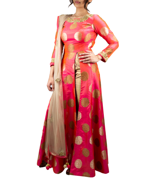 Hot pink Anarkali with front slit