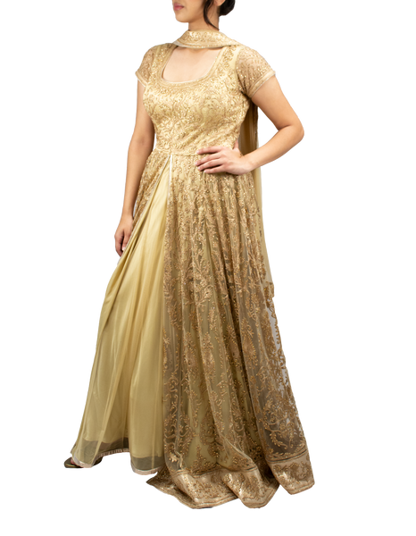 Gold anarkali with front slit