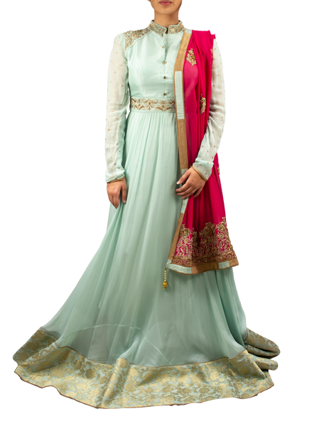 Icy blue Anarkali with hot pink dupatta
