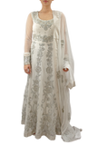 White Anarkali with silver embroidery