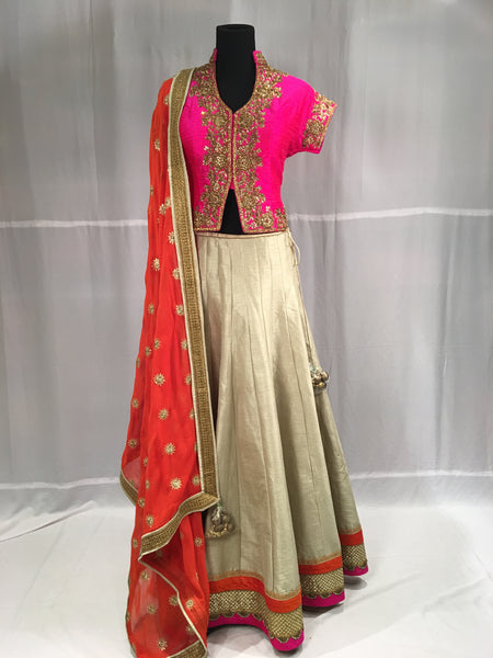 Corset Pink Blouse with Gold Lehnga