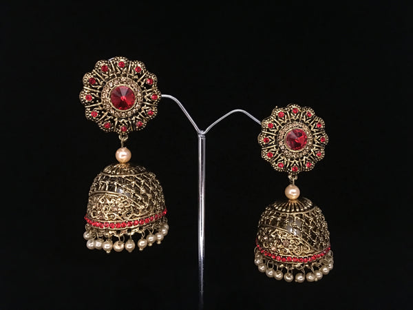 Red and gold jhumkas