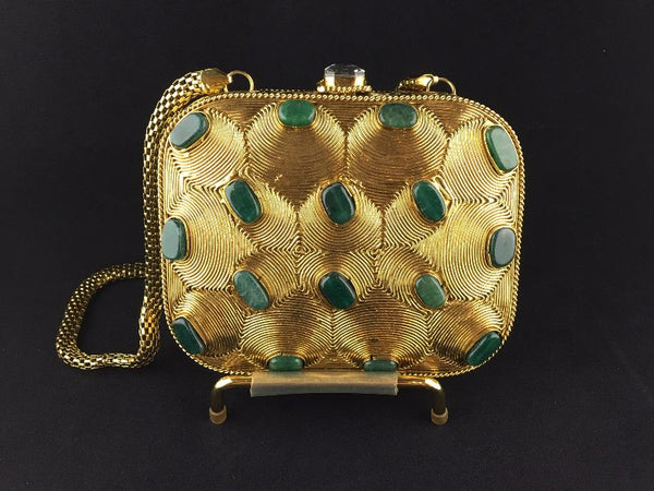 Emerald Green and Gold clutch