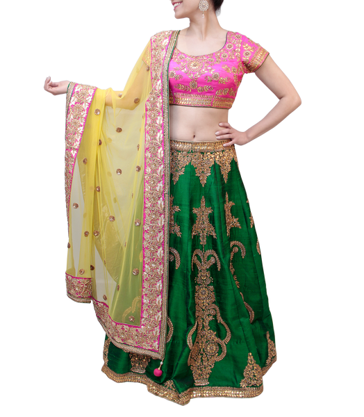 PINK AND GREEN LEHENGA