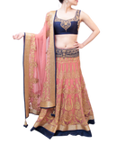 Peach and Blue lehenga