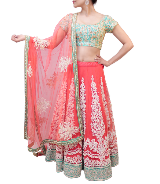MINT GREEN AND PINK LEHENGA