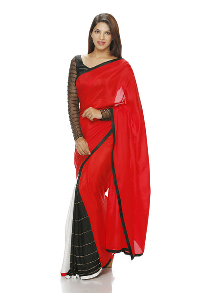 RED, BLACK AND WHITE SAREE WITH EMBROIDERY ON THE PLEATS