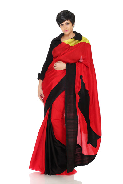 BLACK AND RED SAREE WITH PATCHWORK
