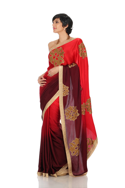 MAROON SHADED SAREE WITH LOGO PATCHWORK