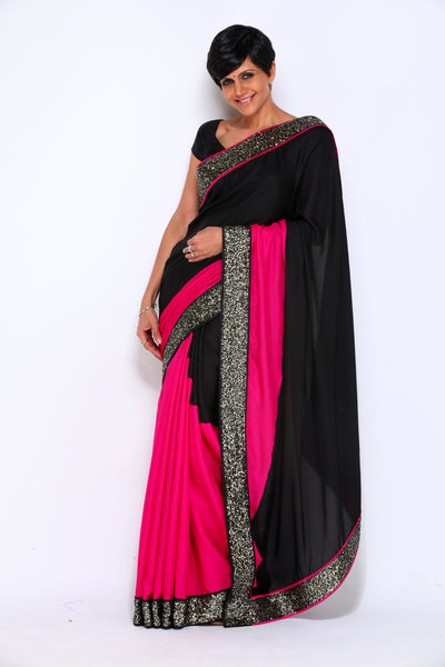 PINK AND BLACK CREPE SAREE WITH SEQUIN BORDER