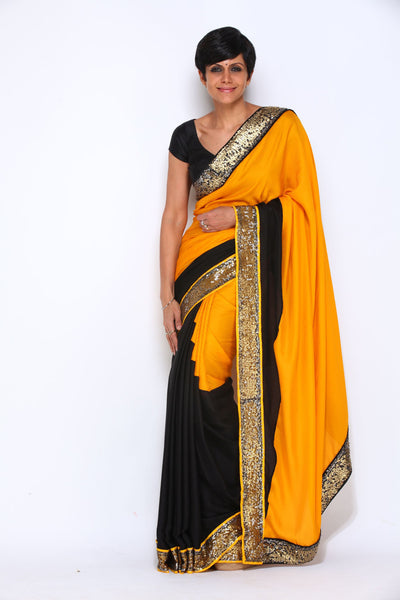 YELLOW SAREE WITH SEQUIN BORDER