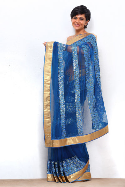 BLUE THREAD WORK NET SAREE WITH GOLD BORDER