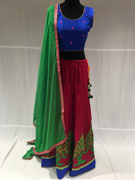 Blue and Pink chaniya choli