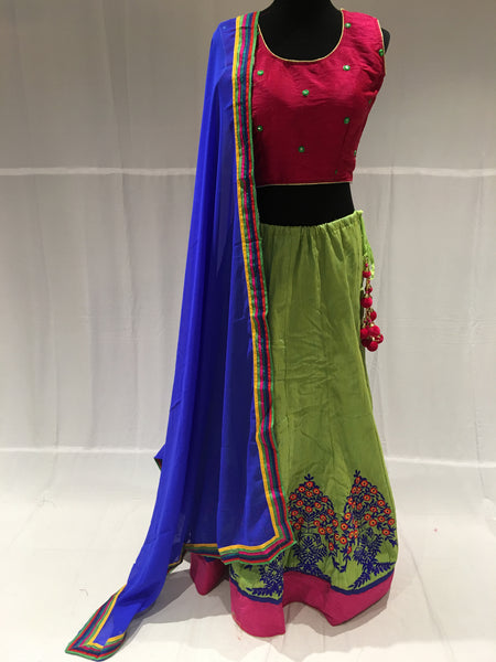 Pink and Light green Chaniya choli