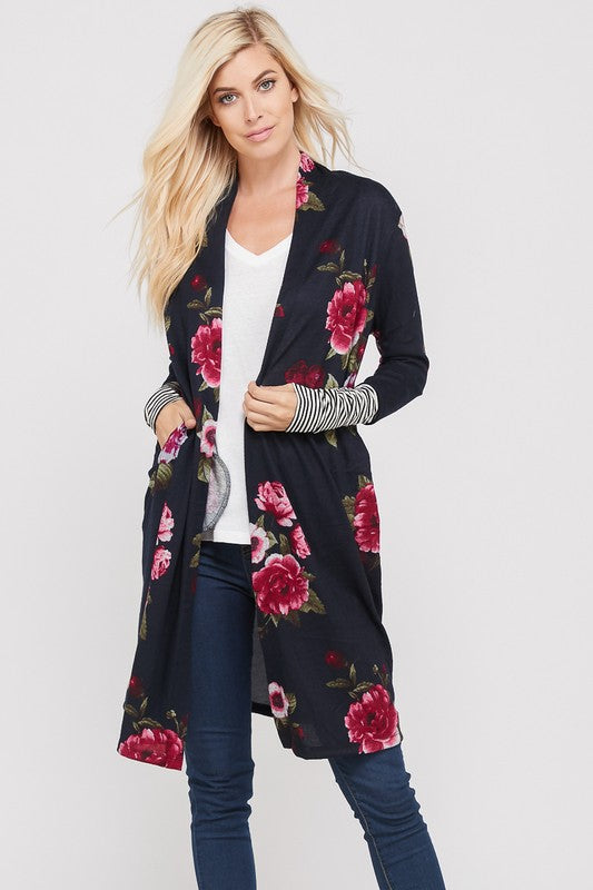 Navy Bloom Open Cardigan