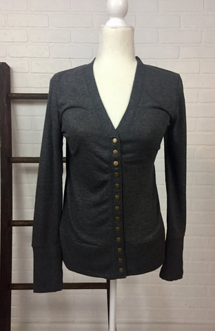 Snappy Cardigan in Charcoal