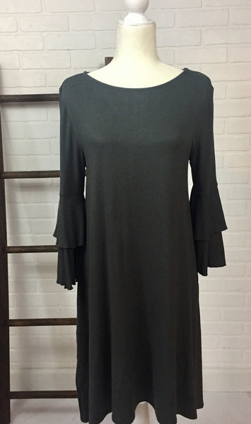 Flair Sleeve Swing Dress