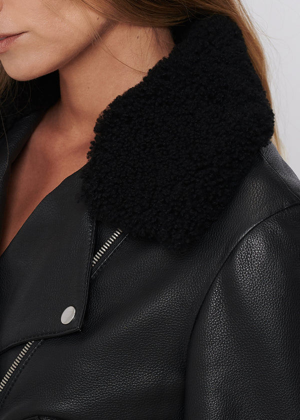 LIV Boxy Biker | Black with Shearling Collar