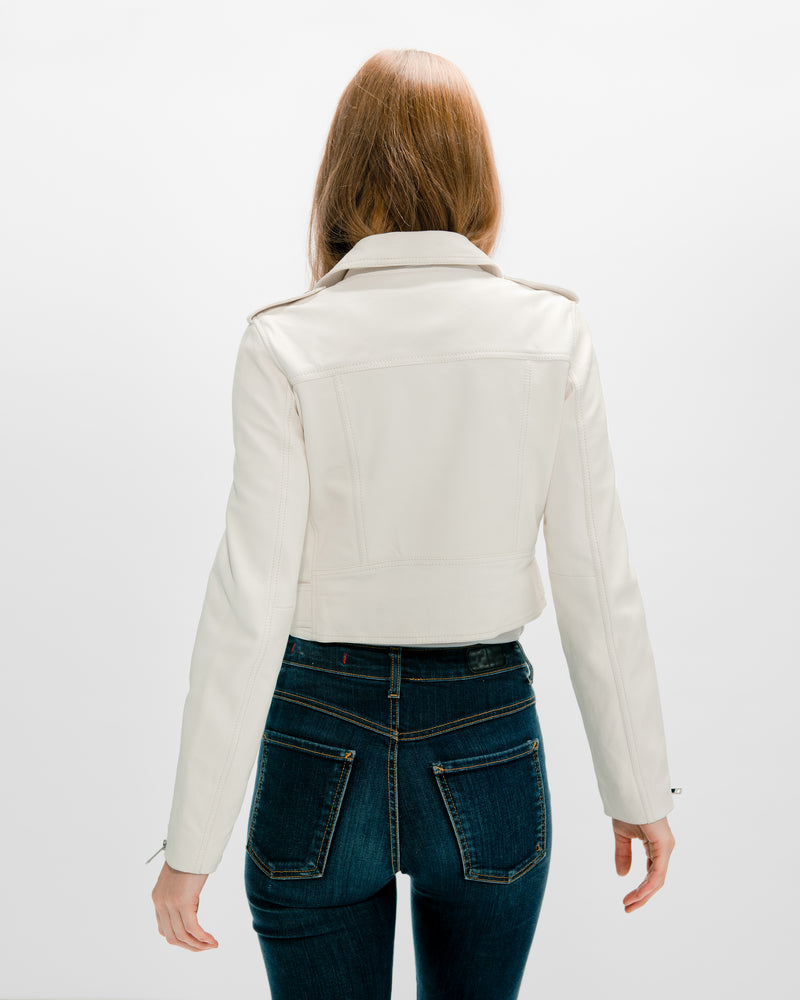 MYA Cropped Biker  | White