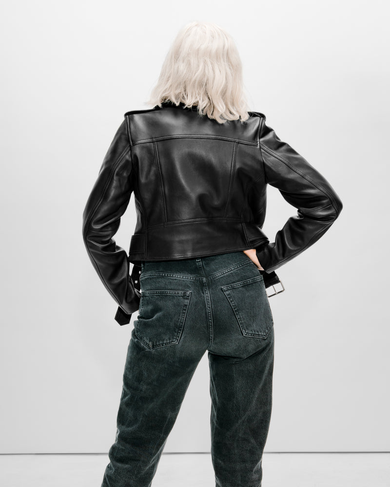 MYA Cropped Biker | Black