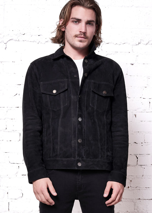 ROB Suede Jean Jacket | Black