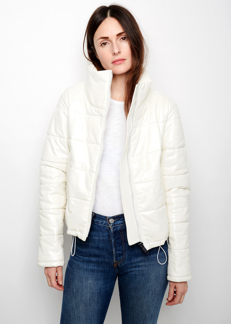CAY Cropped Puffer | Pearl White