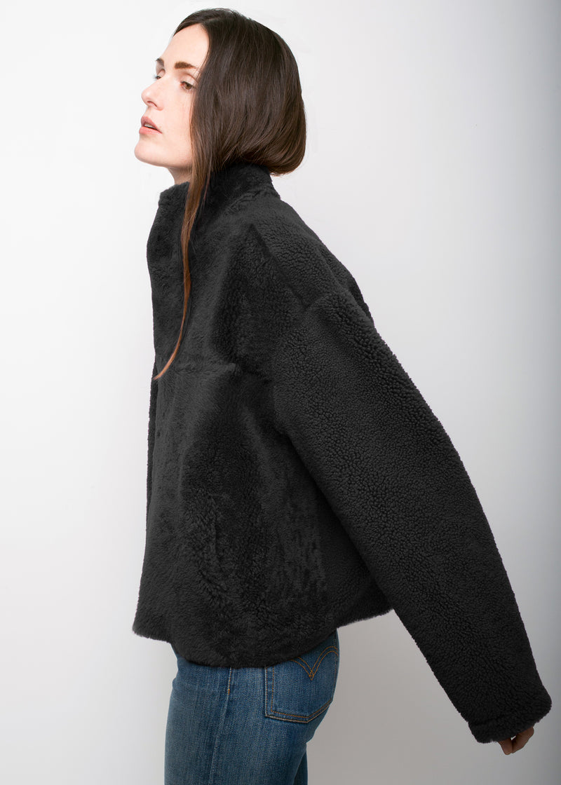 SKY Reversible Teddy Coat | Black