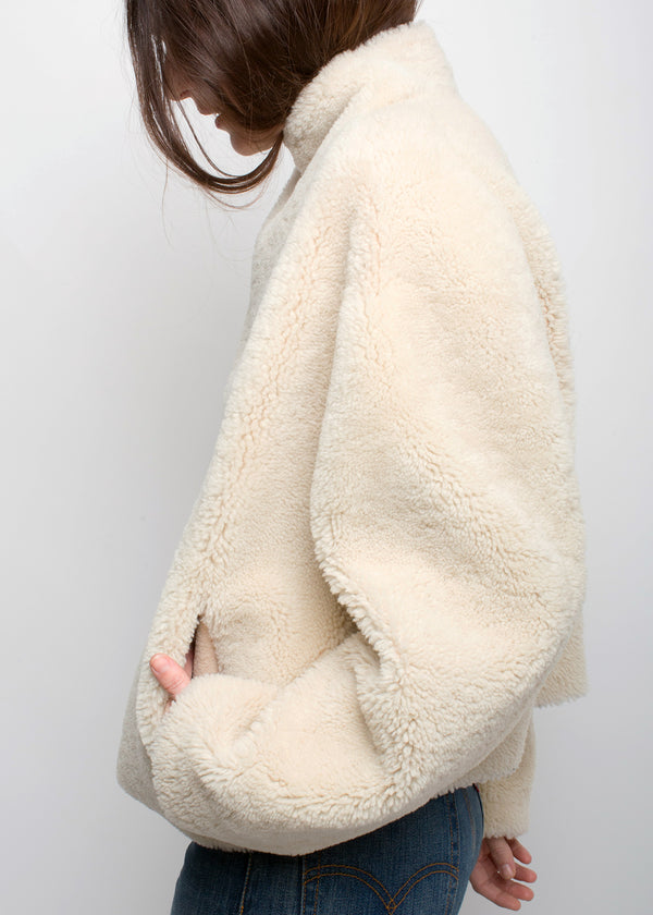 SKY Reversible Teddy Coat | Cream