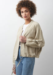 AMY Oversized Bomber | Beige/Yellow