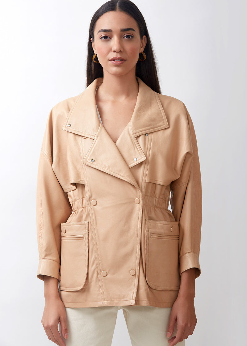 BAT Linen Mix Parka | Peach