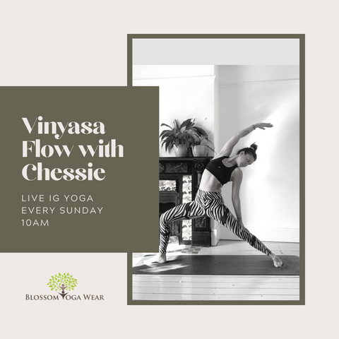 Free on line yoga classes live on instagram with blossom yoga wear
