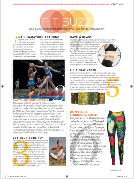 Blossom Yoga Wear Feature in health and fitness magazine