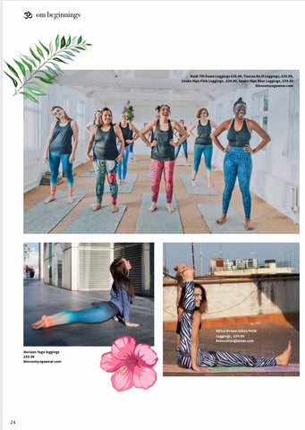 Blossom Yoga Wear High Waisted Yoga and Gym Leggings Featured in Om Yoga Magazine 2020