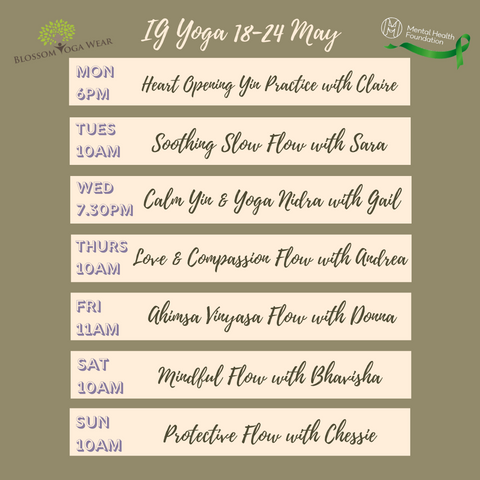 Donation based yoga classes live with Blossom Yoga Wear in support of Mental Health Awareness Week