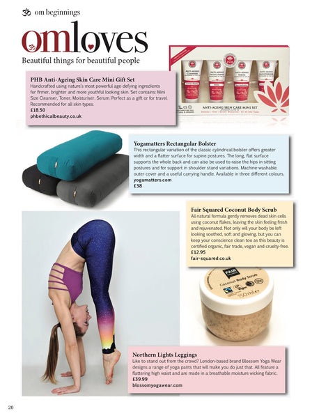 Blossom Yoga Wear Feature in Om Yoga Lifestyle Magazine