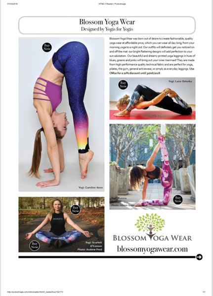 Blossom Yoga Wear Featured in the best Yoga Clothing Guide