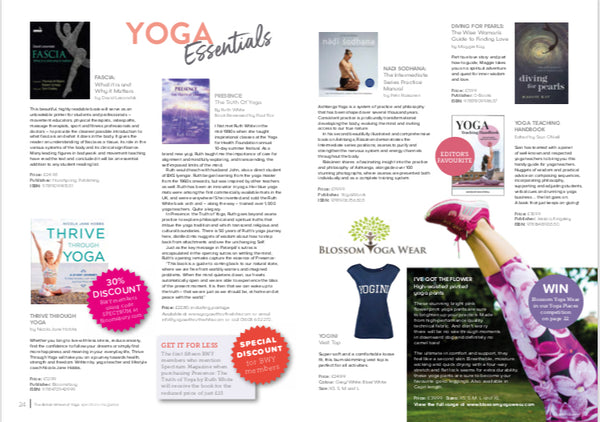 British Wheel of Yoga Spectrum Magazine Featuring Blossom Yoga Wear