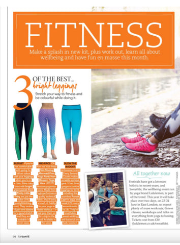 Blossom Yoga Wear featured in Top Sante Magazine