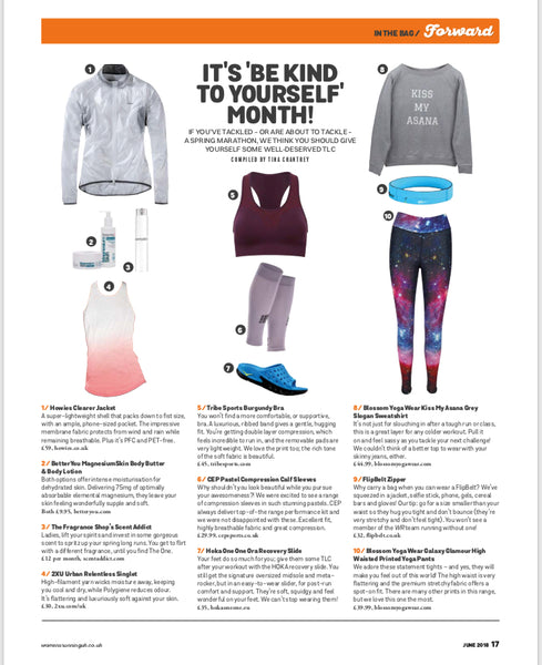 Womens Running Magazine June  2018 featuring Blossom Yoga Wear