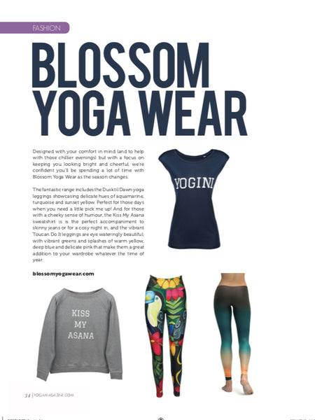 Blossom Yoga Wear Feature in Yoga Magazine December 2018