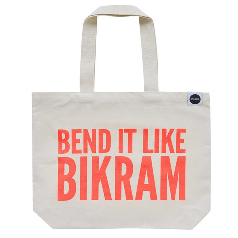 HEY! HOLLA Bend it Like Bikram Tote Bag